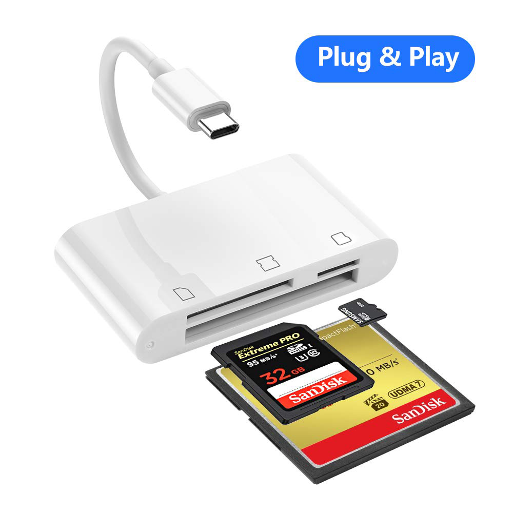 SD Card Reader, RayCue 3 In 1 USB Type C To SD/Micro SD/CF Card Reader, USB C CompactFlash Card Trail Game Camera Card Reader Fo