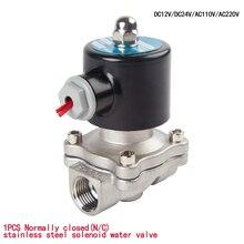 """สแตนเลสสตีลไฟฟ้า Solenoid วาล์ว 1/4 """"3/8"""" 1/2 """"3/4"""" 1 """"ปกติปิดสำหรับน้ำน้ำมันแก๊ส 12V/24V/220V/110V"""