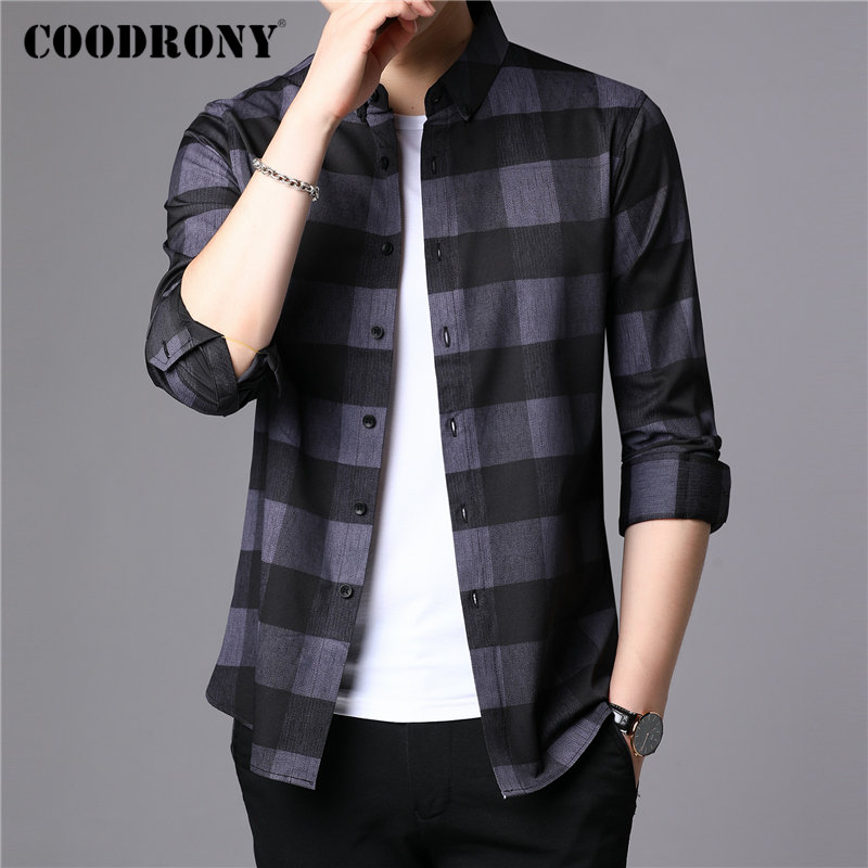 COODRONY Brand Men Shirt 2019 New Arrivals Autum Winter Casual Shirts Fashion Plaid Long Sleeve Shirt Men Camisa Masculina 96079