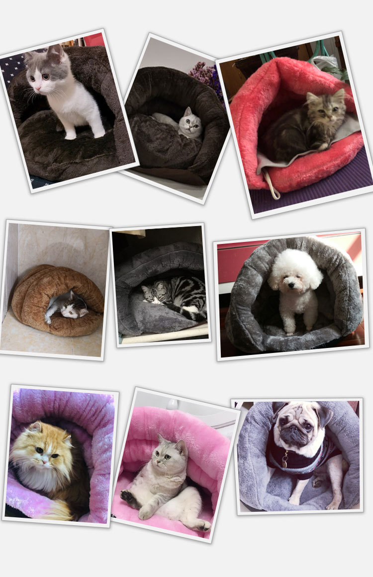 Triangle Pet bed for Small Cats Dogs Soft Nest Kennel Bed Cave House Sleeping Bag Mat Pad Tent Pets Winter Warm Cozy Beds Supply 2