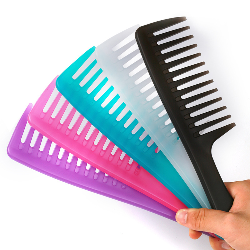 Anti-static Large Wide Tooth Comb Hairdressing Comb Women Hanging Hole Handle Grip Curly Hair Hairbrush Beauty Hair Combs