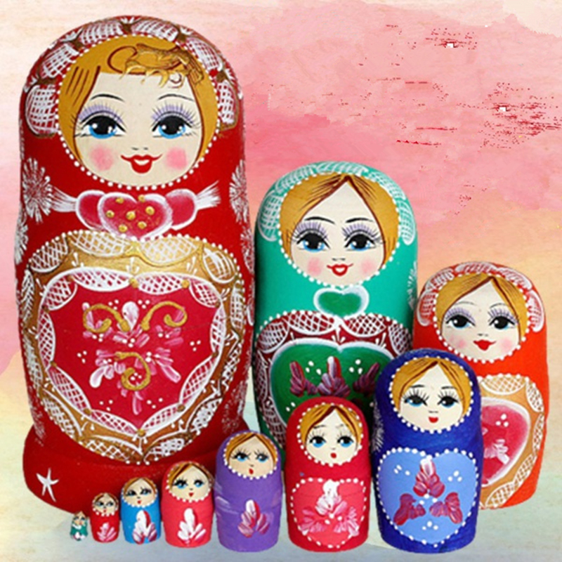 7/10 Layers/Set Wooden Traditional Matryoshka Dolls Toys Russian Nesting Doll Children Christmas Gifts Educational Toys