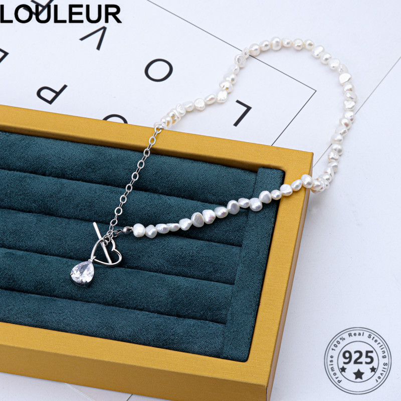 Louleur Shiny 925 Sterling Silver Necklace Design Love Zircon Pendant Necklace For Women Silver 925 Fine Jewelry Silver 925(China)