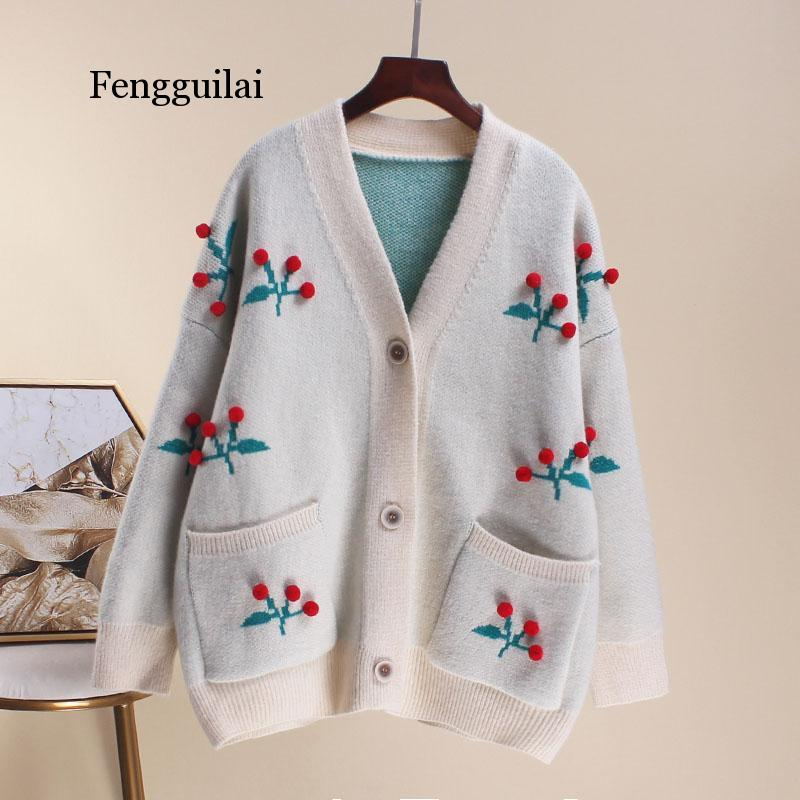 FENGGUILAI Womens Autumn Thin Sweater Cardigans Plus Size Sweet Cherry Embroidery Kawaii Patchwork Sweater Knitted Wear Female