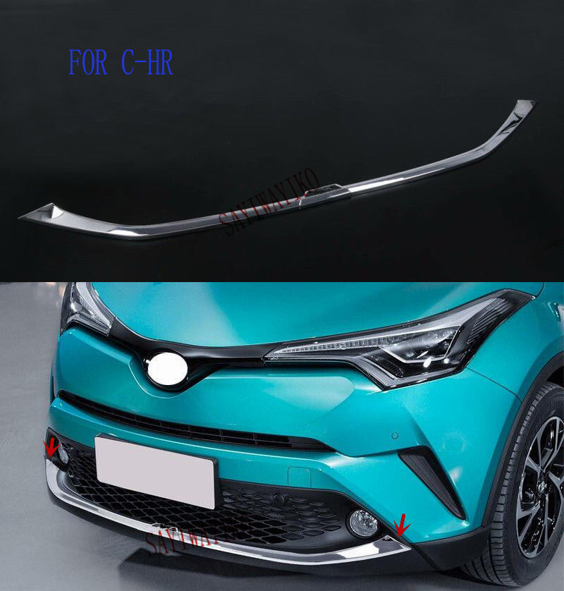 Fit for Toyota C HR CHR 2016 2017 2018 Front bumper Cover Trim Decoration ABS Chrome Car Accessories Auto Styling-in Chromium Styling from Automobiles & Motorcycles