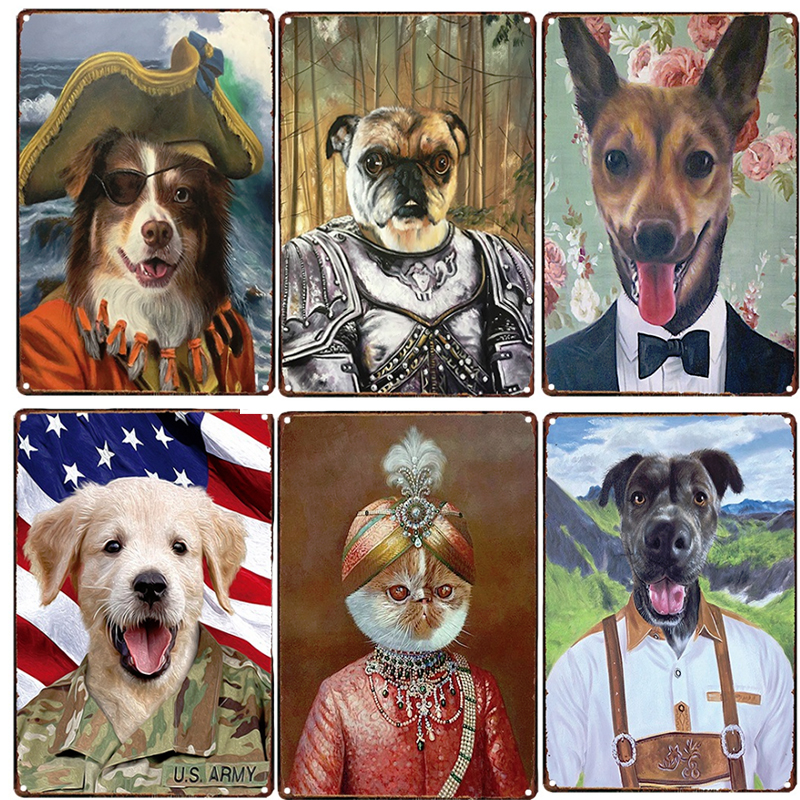 Dressed Dog Cat Metal Poster Plaque Vintage Metal Tin Sign For Cafe Pub Bedroom Wall Decoration Retro Tin Plate 20x30cm