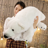 100cm High Quality Stuffed Animal Ice Bear Cushion Polar Bear Plush Animal Toy Doll Pillow Kids Birthday Christmas Gift