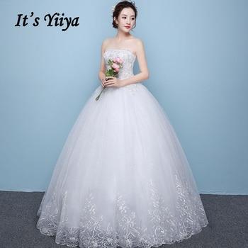 Wedding Dress Long It's Yiiya AR674 Strapless Lace Wedding Dresses Boho Sleeveless Bridal Ball Gowns Plus Size Vestido De Noiva
