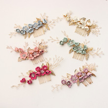 Hair Jewelry Combs Headdress Hair-Accessories Wedding Bridal Blue Fashion Luxury Leaves