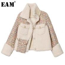 Split Short-Jacket Spring Long-Sleeve EAM Tweed Women Coat Autumn Lambswool Tide Lapel