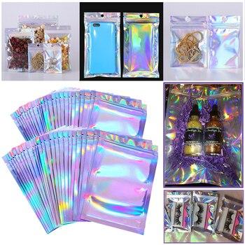 Упаковка Eyelashe оптом голографическая лазерная сумка с застежкой-молнией для хранения ожерелья под заказ логотип наклейка оптовая идея пода...