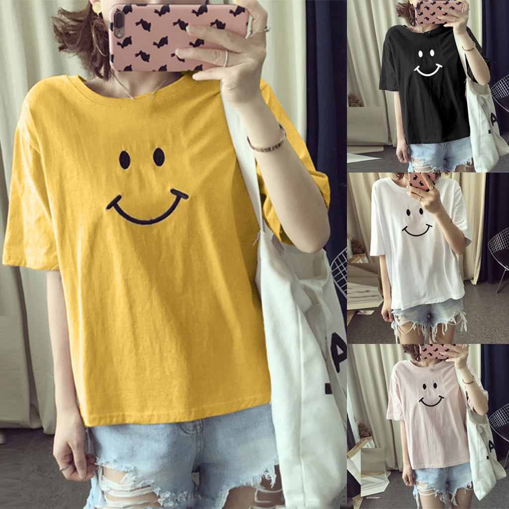Women T-Shirts Summer Cute Smiley Printed Top Tee Female T-shirt Short Sleeve tshirt for Lady Casual Hipster Funny Teenage Tops