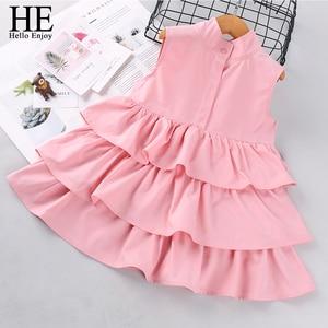 HE Hello Enjoy Summer Baby Girl Dresses Toddler Children Clothes Sleeveless Pink Wedding Princess Pageant Brands Dress For Kids