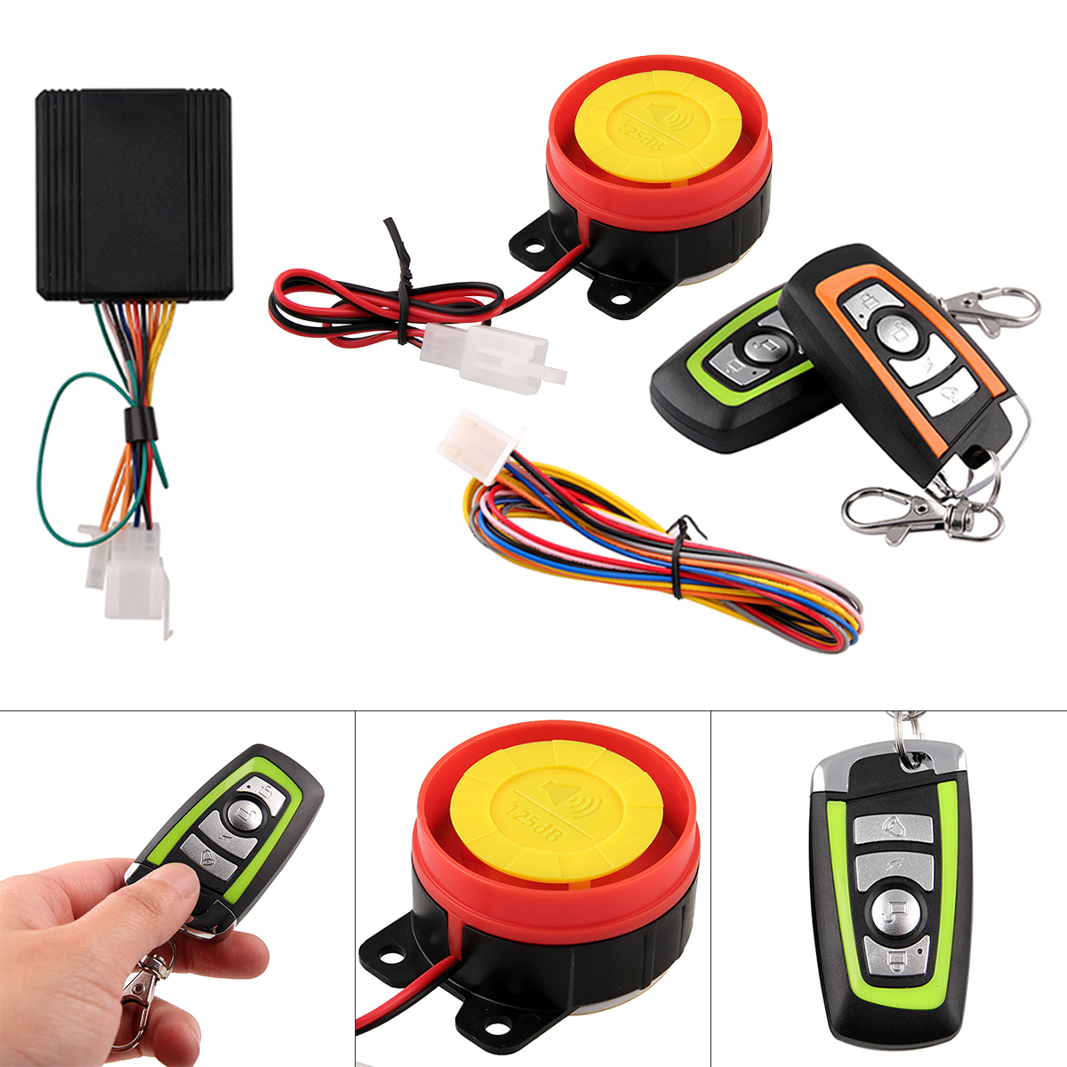 12V 125db Motorcycle Two Way Burglar Alarm Scooter Anti-theft Alarm With Engine Start Remote Control Key For Anti-theft System