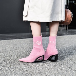 Image 3 - ZVQ brand woman booties knitting wool stretch boots autumn winter cute pink fashion black hollow high heels womens shoes 43CN