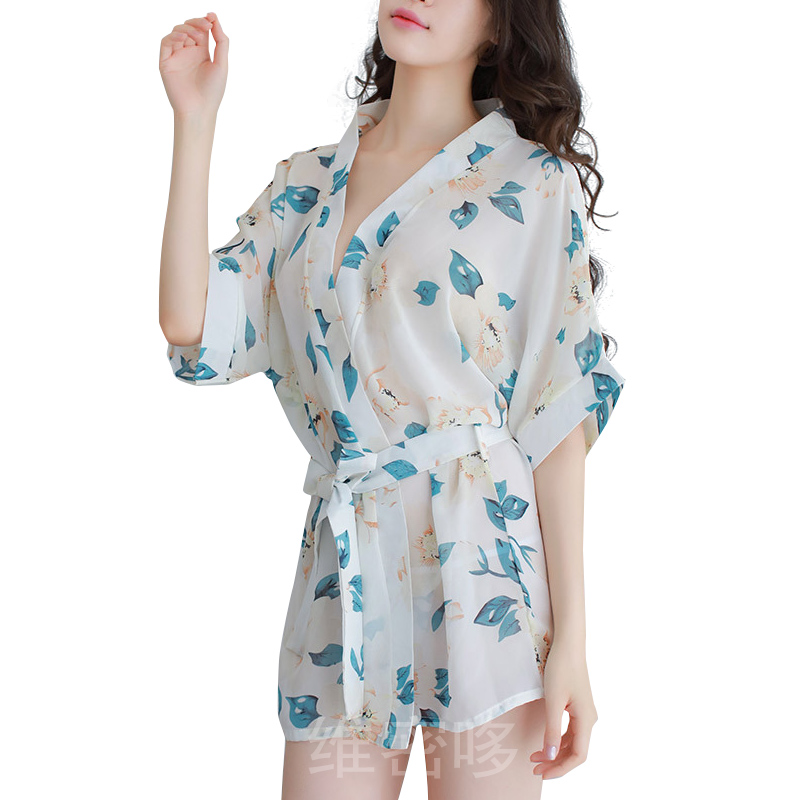Sleepwear Transparent Set Kimono Sleep Dress Print Floral Babydolls Sexy Lingerie Hot Erotic Night Gown