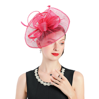 Women Cocktail Chic Red Fascinator Bow knot Hat Church Headpiece Wedding Fashion Headwear Lady Party Formal Hair Accessories