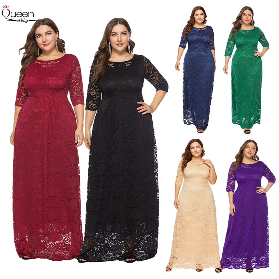 Plus Size Half Sleeves Lace Floor-length Evening Dress A-line Scoop Dress With Pockets For Party