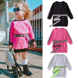 Fashion New Autumn Winter Kids Baby Girls Sweater Dress Cotton Solid Long Letter Print Sleeve Toddler Mini Dress with Belt
