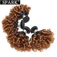 Spark-Extensión de cabello humano ombré peruano, mechones de cabello rizado saltarín, 2 tonos, 1B/30, mechones de cabello humano postizo, color negro, para mujeres