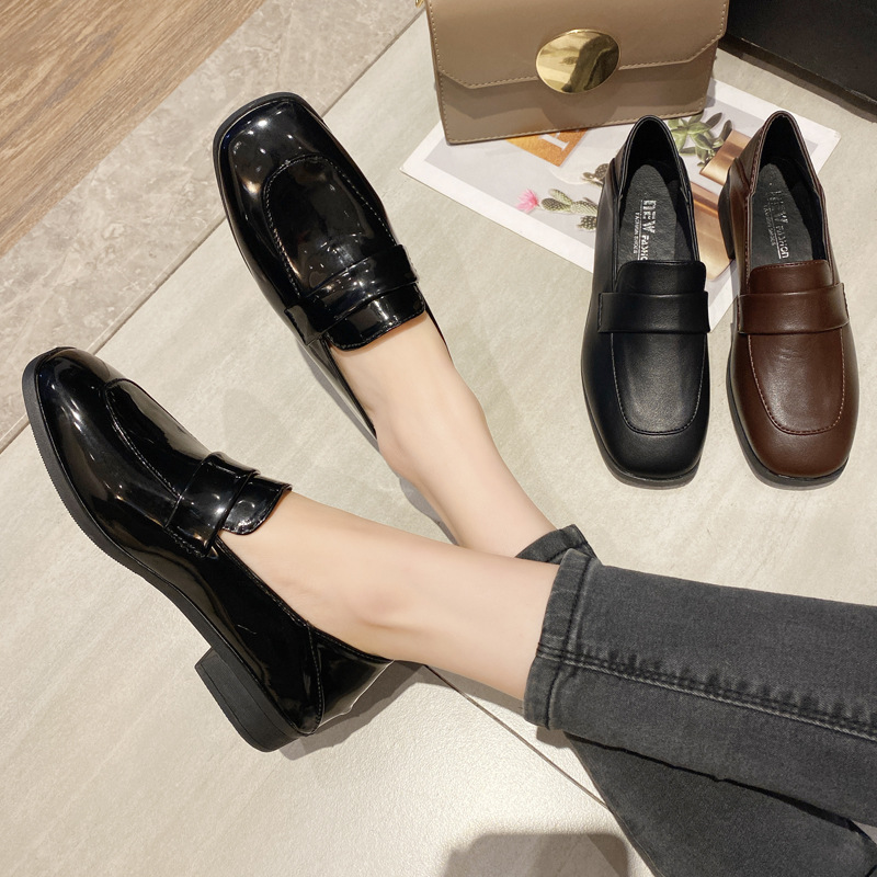 New Women Shoes Woman Platform Autumn Derby Shoes Ladies Flat Oxfords Patent Leather Slip On Female Comfort Fashion Footwear