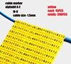 Plastic cable marking clip m-0 m-1 m-2 m-3 alphabit cable marking AZ cable size 1.5 SQMM yellow cable insulation cable marking 6