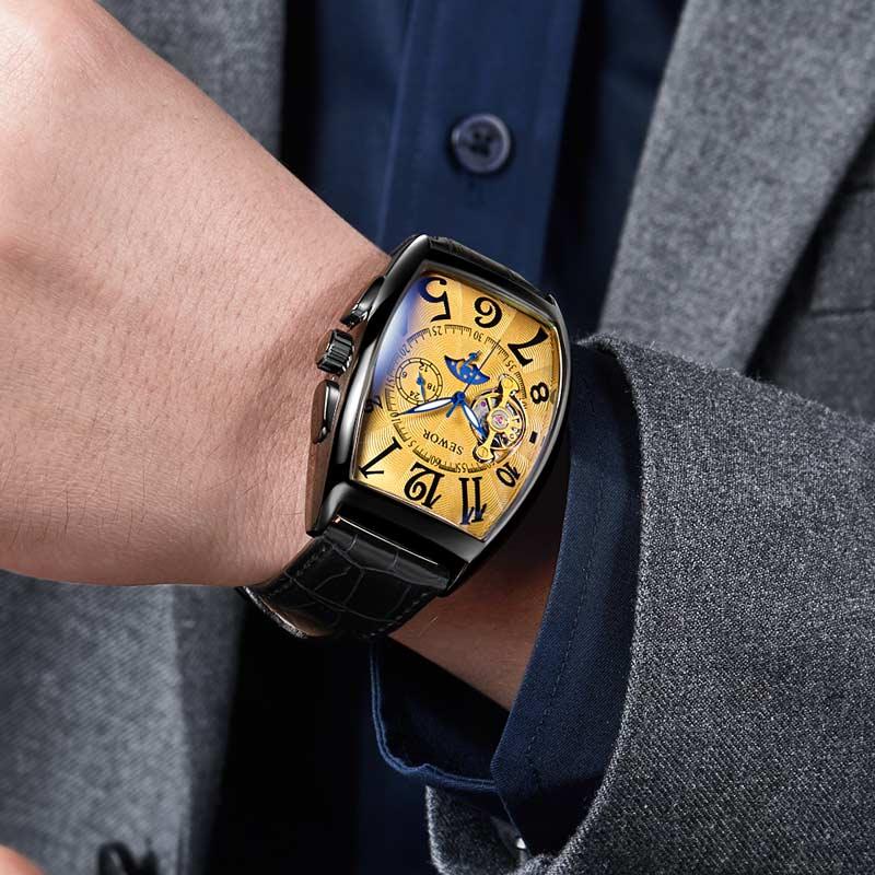 relógios masculino automático mecânico relógios de pulso