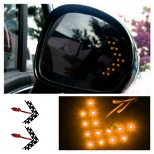 2PCS Universal 14-SMD Car Side Rearview Mirror Turn Signal LED Lights Blinker Retrofit Yellow Light