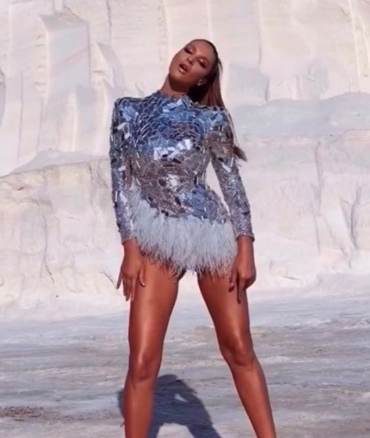 Sparkly Silver Mirrors Feather Bodysuit Women's Bar Birthday Celebrate Outfit Singer Prom Women Dancer Show Wear