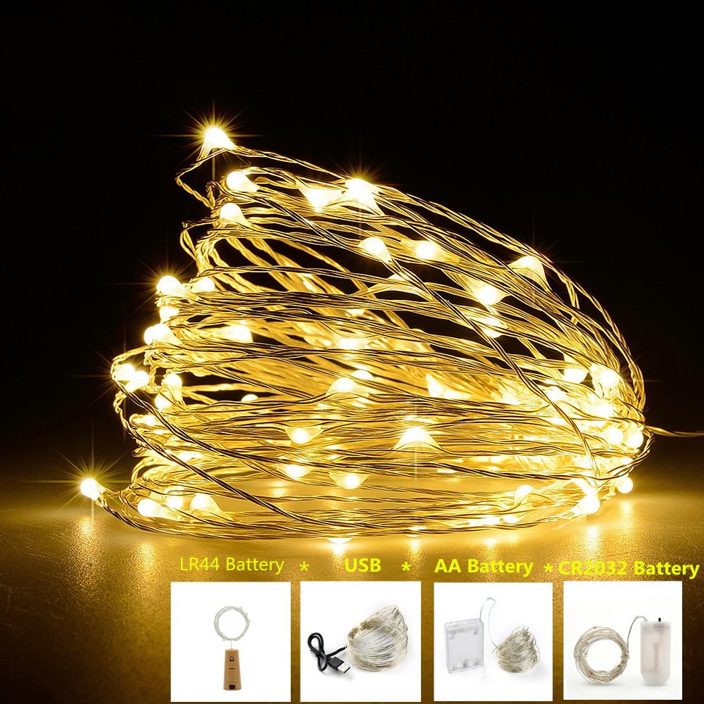 LED String Light Silver / Copper Wire Outdoor Fairy Home Wedding Party Christmas Decoration Led Light Powered By Battery / USB