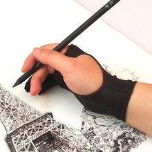 Pen Refill Tablet Any-Graphics Drawing Left-Hand Artist 2-Finger-Anti-Fouling-Glove Black