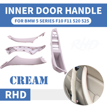 4PCS Right Hand Drive RHD For BMW 5 series F10 F11 520 525 Cream Car Interior Door Handle Inner Panel Pull Trim Cover Armrest