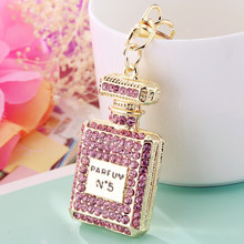 Fashion Rhinestones Flashing Perfume Bottle Keychain Beautiful Lipstick Key Ring Exquisite Womens Crystal Charm Gift