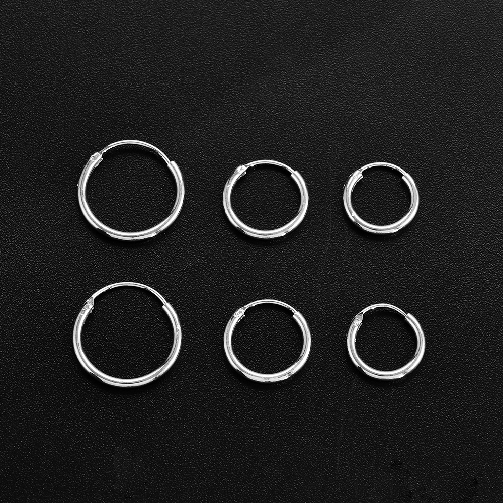 3 Pair/Set Fashion Women Girl Simple Round Circle Small Ear Stud Earring Punk Hip-hop Earrings Jewelry 3 Size
