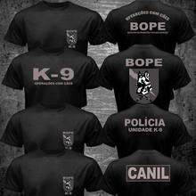Brasil swat bope forças especiais polícia K-9 cão canino canil unidade engraçado algodão casual camiseta superior