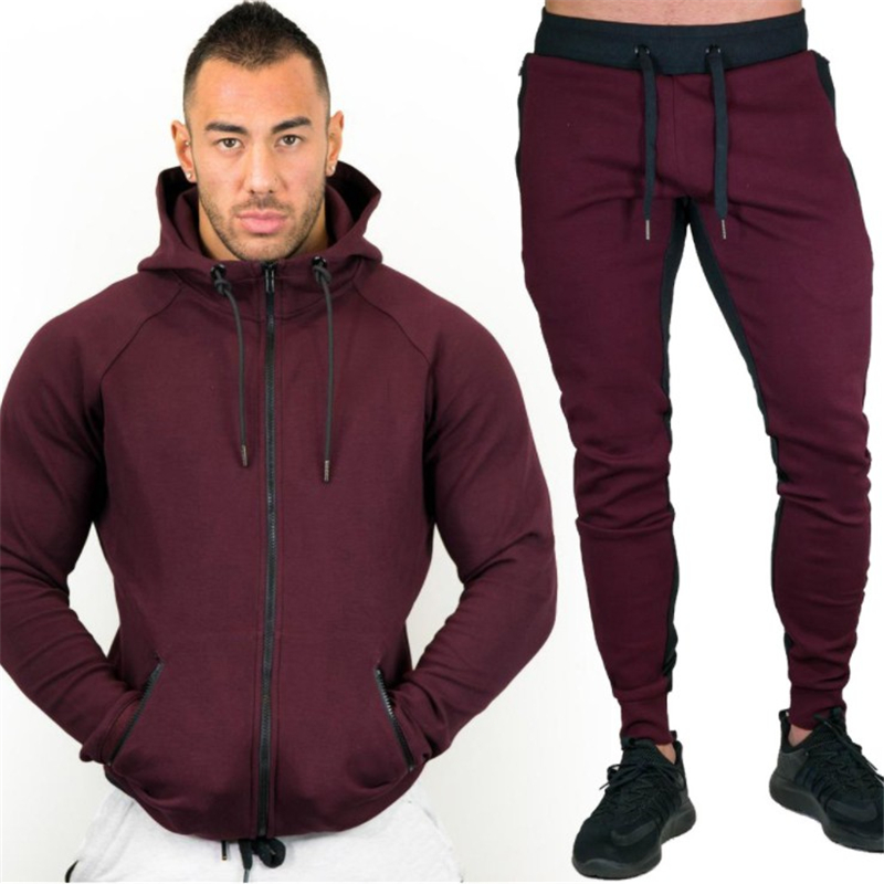 New 2019 Spring Set Mens Fashion Sportswear Tracksuits Sets Mens Bodybuilding Hoodies+Pants Casual Outwear