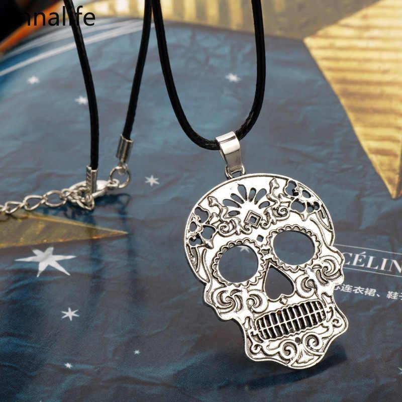 2019 Новинка мексиканский сахар, Череп, ожерелье День мертвых Скелет Кулон ожерелье мужские очаровательные подарочные украшения