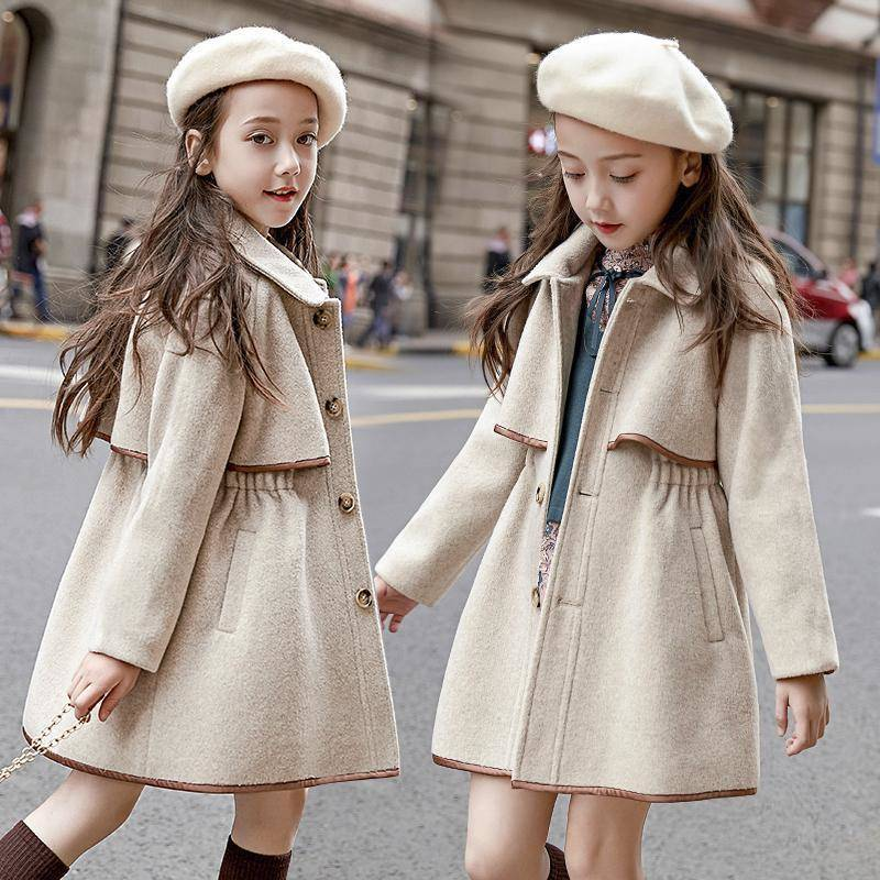 Children Girls Coats Outerwear Winter Girls Jackets Woolen Long Trench Teenagers Warm Clothes Kids Outfits For 4 6 8 10 12 Years