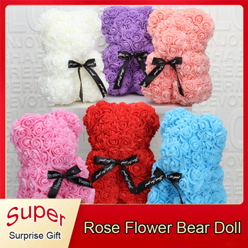 25cm Soap Foam Bear Of Roses Teddy Bear Doll Handmade Bear Toys For Women Valentines Christmas New Year Gifts Home Decoration 1