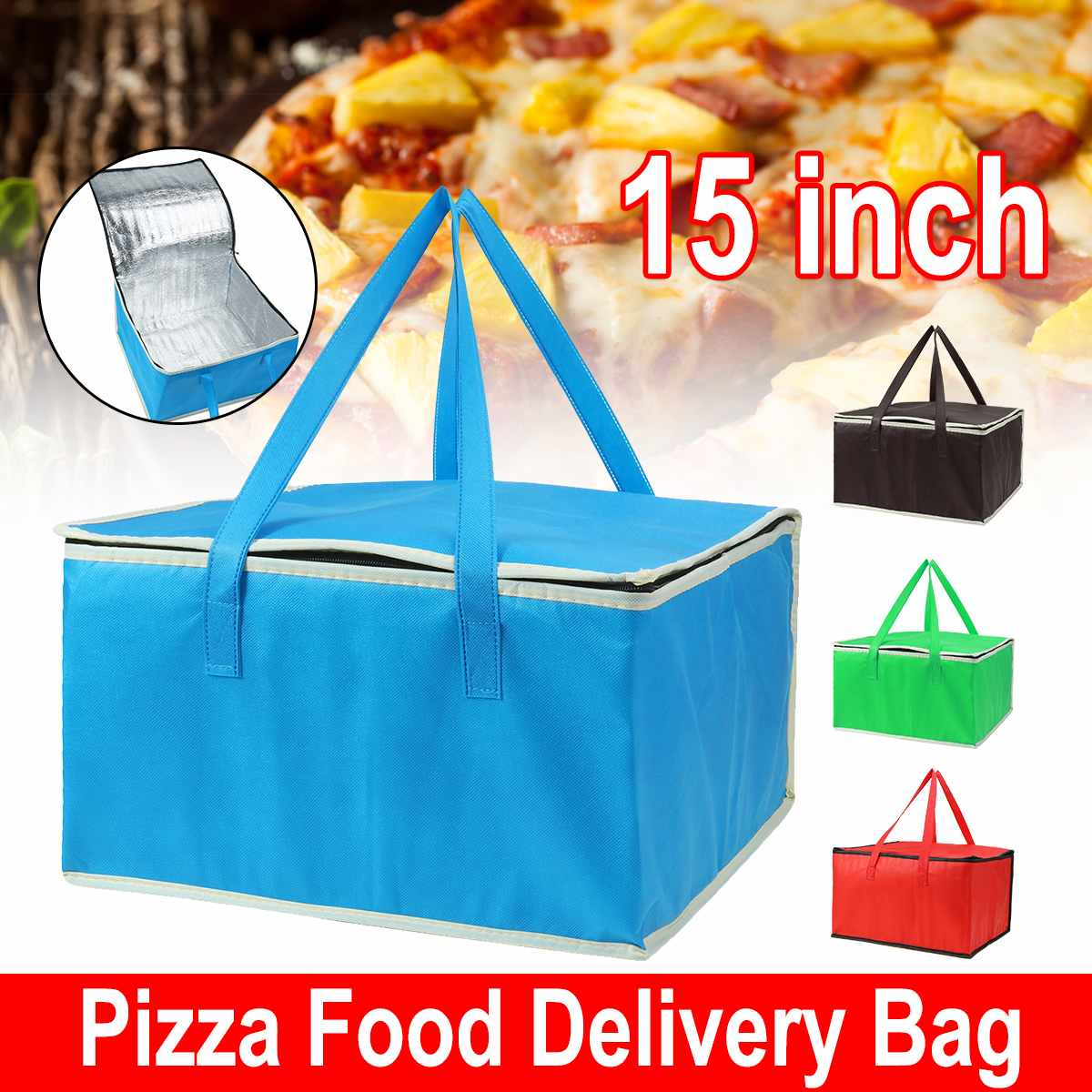 15 Inch Lunch Cooler Bag Insulation Folding Picnic Portable Ice Pack Food Thermal Bag Food Delivery Bag Drink Carrier Pizza
