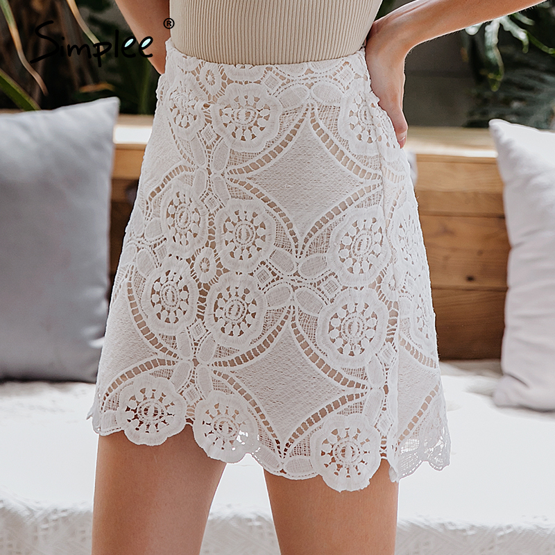 Simplee Sexy Lace Embroidery Women Short Skirt Casual Party Wear Female Bodycon Mini Skirt Lining Elegant Ladies Bottom Skirts