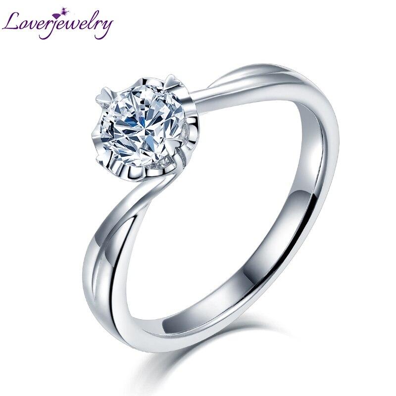 2019 femmes Moissanite bagues de fiançailles réel 14Kt or blanc 0.5ct 1ct 2ct Moissanite anneau bijoux pour dame mariage meilleur cadeau