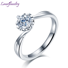 2020 Women Moissanite Engagement In Rings Real 14Kt White Gold 0.5ct 1ct 2ct Moissanite Ring Jewelry For Lady Wedding Party new arrivals vintage round 5 5mm semi mount ring in 14kt white gold diamond engagement setting ring for sale ywr00103