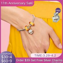 Charms Bracelet Planet ATHENAIE 100%925-Sterling-Silver Gold Women 18kt Pave with Faceted-Glass-Beads
