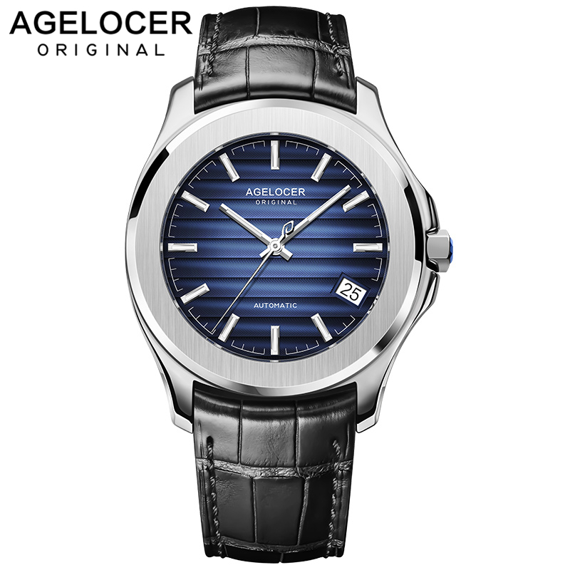 AGELOCER Switzerland Men Watch Top Brand Luxury Male Leather Waterproof Sport Automatic Mechanical Wrist Watch Men Clock relogio in Mechanical Watches from Watches