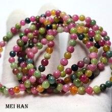 Meihan (35 kulek/bransoletki/7.5g) A + natural Candy turmalin 5 5.5mm okrągłe luźne koraliki kamień prezent na projektowanie biżuterii