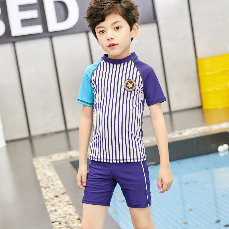 2019 BOY'S Swimsuit Split Type Short-sleeved Top Short Swimming Trunks Set Big Boy Long Sleeve Sun-resistant Quick-Dry
