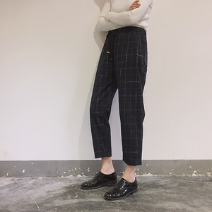 Image 4 - New Fashion Women Pants Pockets Plaid Womens Loose Casual Female High Waist Pant Females Korean Style Retro Chic Students Girls
