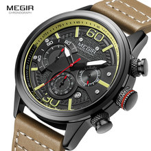 MEGIR Top Luxus Marke Uhren Männer Military Sport Leder Quarzuhr Chronograph Mode Casual Armbanduhr Relogios Uhr 2110