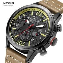 Megir relógio masculino luxuoso militar, esportivo de couro, de quartzo, cronógrafo, moderno, casual, relógio de pulso, 2110